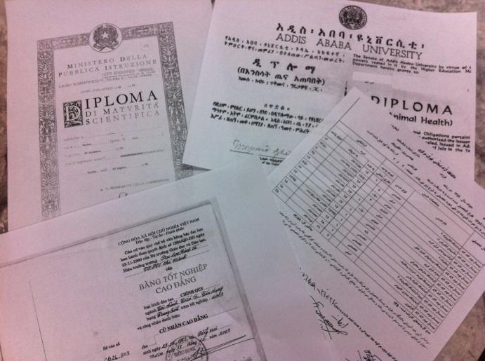 Various diplomas